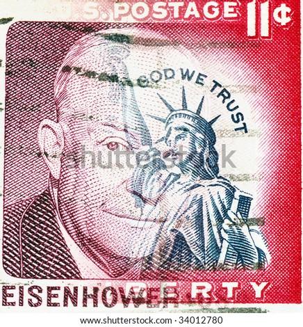 Statue of Liberty on US vintage postmark with president Eisenhower - stock photo