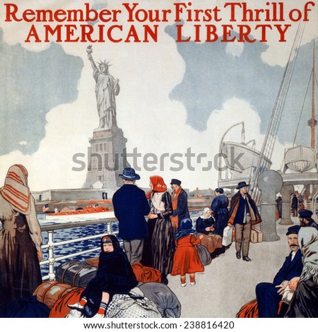 Statue of Liberty. Poster showing immigrants on a ship's deck, sailing past the Statue of Liberty. color lithograph, 1917 - stock photo