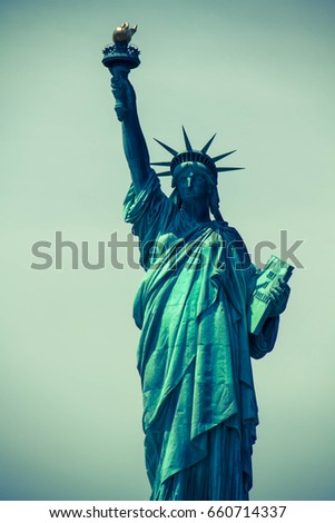 Statue of Liberty with clearly background in green vintage style