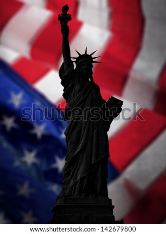 Statue of liberty with flag background - stock photo