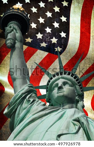 Statue of Liberty with flag of the United States of America