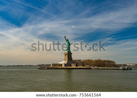 Statue of Liberty with scenic sky, New York, USA