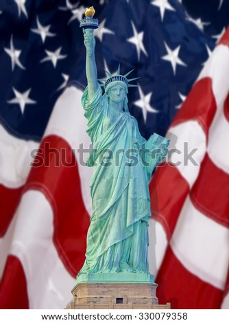 Statue of Liberty with shadow on American flag in New York City  - stock photo