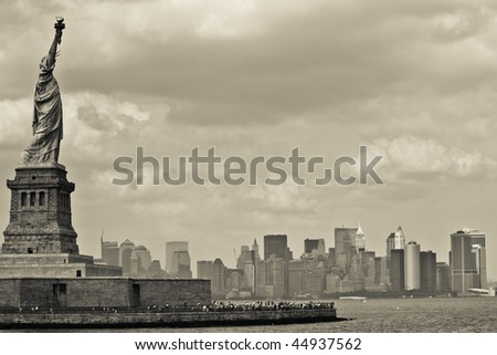 Statue of Liberty with Skyline of Manhattan