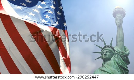 Statue of Liberty with the U.S. flag