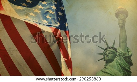 Statue of Liberty with the U.S. flag - vintage effect - stock photo