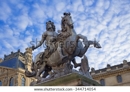 Statue of  Louis XIV - king of France in the XVII-XVIII century (1643-1715) - stock photo