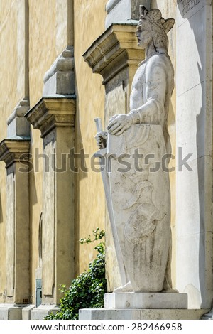 Statue of Ludovicus Magnus in the City of Szekesfehervar, Hungary - stock photo