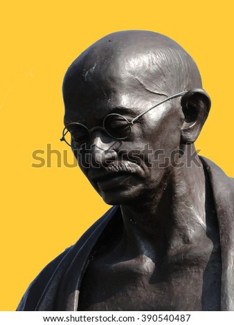 Statue of Mahatma Ghandi  in a park in Geneva, Switzerland