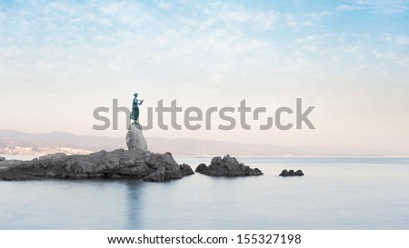 "Statue of ""Maiden with the Seagull"" in Opatija Croatia."