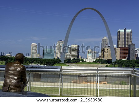 Statue of Malcolm Martin and view of St. Louis - stock photo