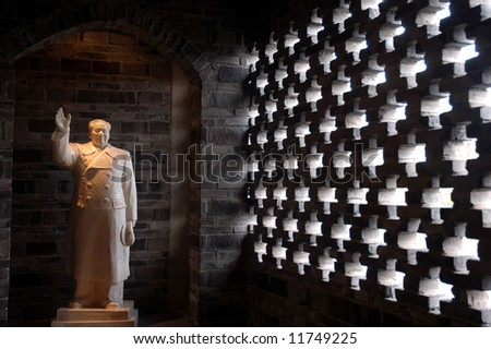 Statue of Mao  in Chengdu,west of  China.  a symbol of the Cultural Revolution in CHina in 60s. - stock photo