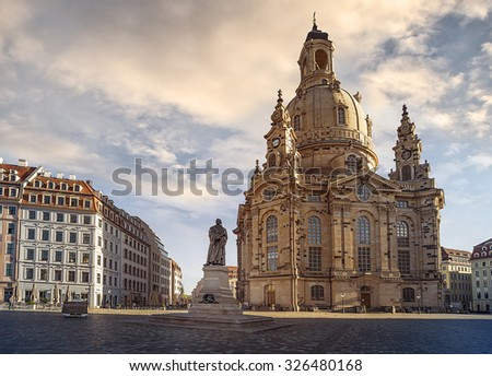 Statue of Martin Luther in front of the Frauenkirche (Church of our Lady) in Dresden, Germany - stock photo