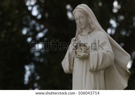 Statue of Mary before a church in Petrarca - stock photo