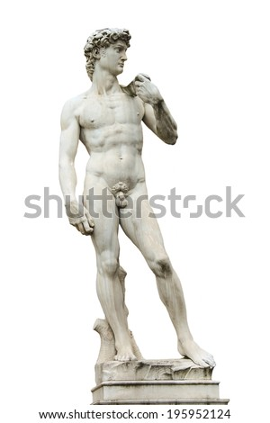 Statue of Michelangelo's David front of the museum Palazzo Vecchio  . Florence, Italy - stock photo