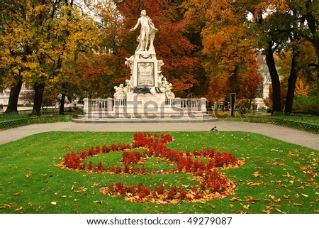 Statue of Mozart in Vienna, Austria, in a beautiful park - stock photo