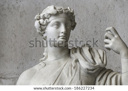 Statue of  naked Apollo with a cat, Rome, Italy, 2014 - stock photo
