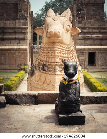 Statue of Nandi Bull in front of Gangaikonda Cholapuram Temple. In Hinduism Nandi is a Shiva vehicle. Great architecture of Hindu Temple dedicated to Shiva. South India, Tamil Nadu, Thanjavur (Trichy) - stock photo