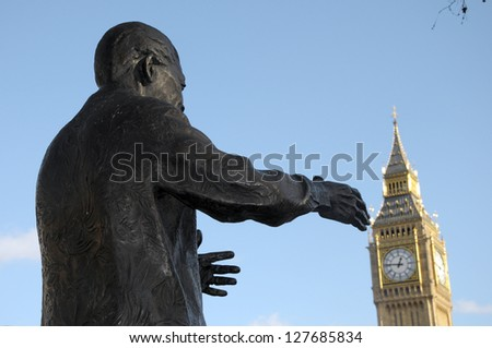 Statue of Nelson Mandela in Parliament Square with Big Ben - stock photo