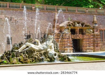 Statue of Neptune in the Heidelberger Castle, Heidelberg, Germany - stock photo