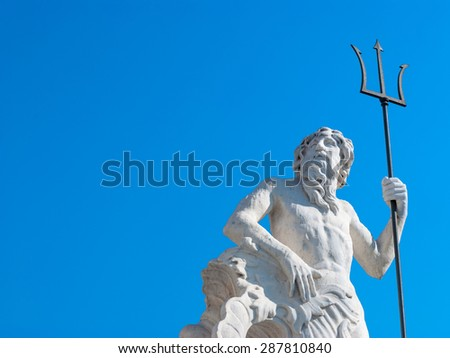 Statue of Neptune with a trident - stock photo