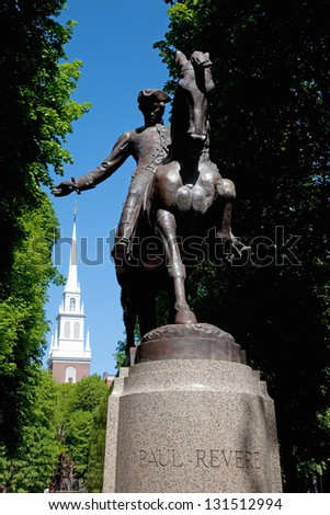 Statue of Paul Revere at Freedom Trail in front of the Old North Church, North End, James Rego Square, Hanover Street, Boston, MA - stock photo