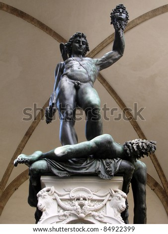 Statue of Perseo with the head of Medusa - stock photo