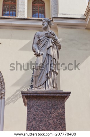 Statue of Peter the Apostle of Lutheran Church of St Peter and St Paul (circa 1838) in Saint Petersburg, Russia. UNESCO site - stock photo