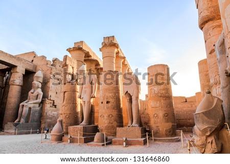 statue of pharaoh in luxor temple, luxor, egypt - stock photo