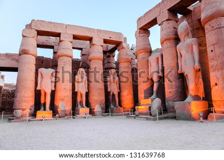 statue of pharaoh rameses II in luxor temple, luxor, egypt - stock photo