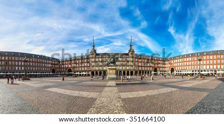 Statue of Philip III at Mayor plaza in Madrid in a beautiful summer day  in Madrid, Spain - stock photo