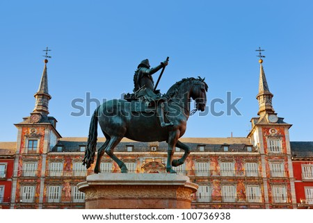 Statue of Philip III on Mayor plaza in the center of Madrid Spain - stock photo