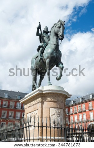 Statue of Philip III one of the famouse King of Spain  on Plaza Mayor in Madrid, Spain