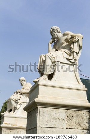 statue of Plato and Socrates  from the Academy of Athens,Greece - stock photo