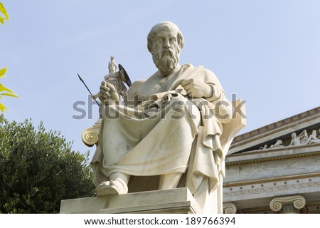 statue of Plato from the Academy of Athens,Greece - stock photo