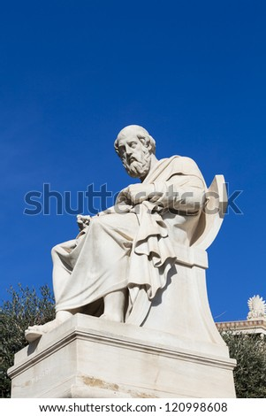 statue of Plato in the Academy of Athens,Greece - stock photo