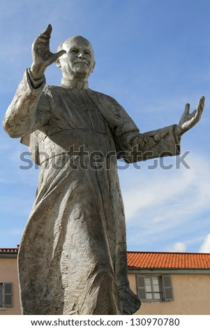 Statue of Pope John Paul II in Fourviere hill - stock photo