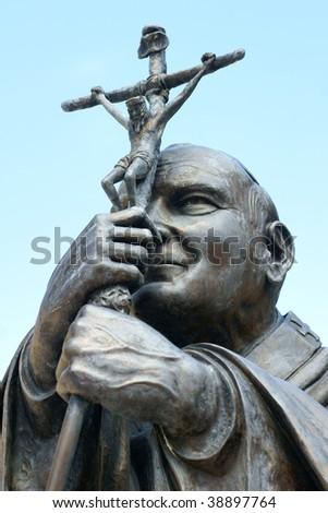 Statue of Pope John Paul 2 in the Dominican Republic - stock photo
