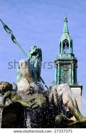 Statue of Poseidon (Neptune God) - stock photo