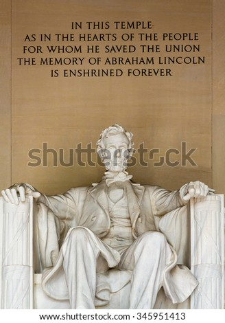 Statue of President Lincoln in Lincoln Memorial in Washington DC