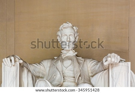 Statue of President Lincoln in Lincoln Memorial in Washington DC - stock photo