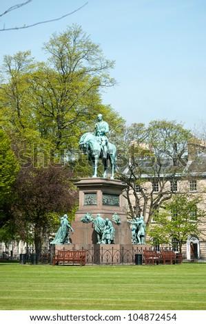 Statue of Prince Albert in the centre of Charlotte Square, Edinburgh - stock photo