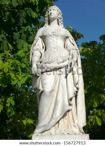 Statue of queen Anne of Austria in Jardin du Luxembourg in Paris