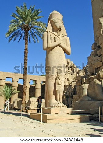 Statue of Ramses II in Karnak temple in Luxor, Egypt.