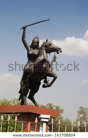 Statue of Rani Laxmi Bai, Agra, Uttar Pradesh, India - stock photo