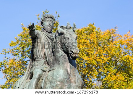 Statue of Roman Emperor Marcus Aurelius - stock photo