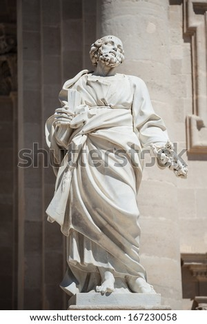 Statue of Saint Paul in the facade of the Siracusa Cathedral, Sicily, Italy