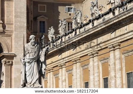 Statue of Saint Paul the Apostle in Vatican City, Rome - stock photo