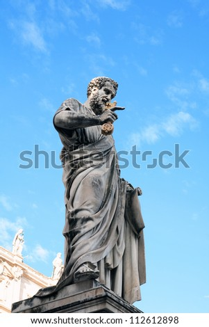 Statue of Saint Peter the Apostle holding a gold key,Vatican,Italy