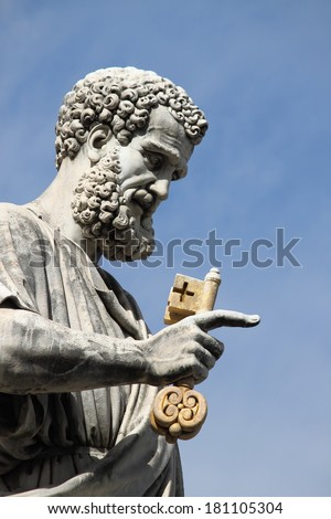 Statue of Saint Peter the Apostle in Vatican City State - stock photo